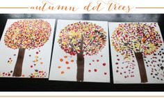 simple craft for kids: autumn dot trees