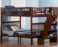 Full over Full Woodland Hardwood Stairway Bunk Bed (Antique Walnut)