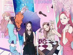 They'll shot you like ddu du ddu du Fanart Manga, Kpop Fanart, Chibi, Fan Art, Kpop Anime, Blackpink Square Up, Girls Manga, Black Pink Kpop, Anime Lindo