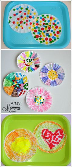Make coffee filter suncatchers using paint dab markers. You could also make fun shapes such as a sun or flower. Diy Crafts To Do, Easy Crafts, Crafts For Kids, Arts And Crafts, Coffee Filter Art, Coffee Filters, Abstract Art For Kids, Sensory Art, Summer Diy
