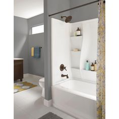one piece acrylic tub shower units. Delta Classic 400 32 in  x 60 3 Piece Direct to Stud Tub Surround High Gloss White FINALLY It s been so difficult find an attractive one piece