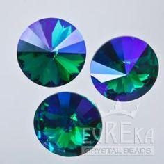 Emerald Glacier Blue 1122 Rivoli 14 mm | Eureka Crystal Beads  Custom Coatings on Swarovski Crystal are aftermarket finishes