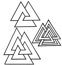 Valknut (represents Nordic god Odin) he triple triangles of Mind, Body, and Spirit leads the Higher Self to Victory over Darkness.