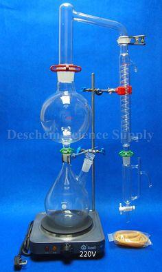 Essential Oil Steam Distillation Kit,Lab Apparatus,W/Hot Stove,Graham Condenser #Deschem