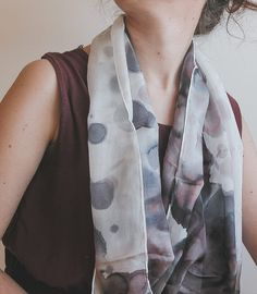 Hand painted silk shawl hand painted silk scarf | handpainted | aubergine and white | minimalist fashion | neutral palette | neutral colors | summer scarf | summer fashion | fashion accessories | light scarf | long scarf | abstract art