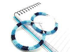 Blue Ombre Hoops Denim Blue Dangles Trendy Boho by ChristalDreamz