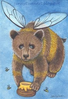 Original-ACEO-NFAC-cute-honey-grizzly-bear-and-bee-wings-mix-media-by-Jenny-luan