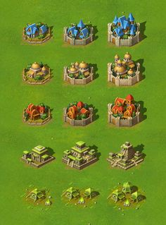 New Battles - Terrain And Towns by Yusuf Artun, via Behance Fantasy World Map, Fantasy Map, 2d Game Art, Video Game Art, Prop Design, Game Design, Buildings Artwork, Minecraft Drawings, Color Palette Challenge