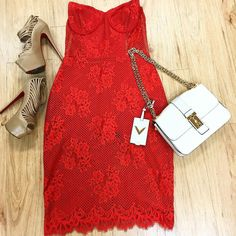 For Love & Lemons Red Lace Strapless w/ Body Suit  Size: 4  Item# 19409-4 Price: $149.99 . Valentino B- Rockstud Cream Leather  Item#: 6513-12365 Price: $1249.99  Christian Louboutin Tan Zoulou Strappy Peep Toe Platform Item#: 6513-12097 Price: $449.99 Size: 36.5  Michele black leather band chronograph watch PLDTW  Price:$299.99 Item#: 13716-84  Location: Sandy springs  To purchase or see more pictures call 770.390.0010 ex. 3  #alexissuitcase #buckhead #atl #atlantaconsignment #thriftatl…