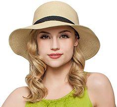 368172a800e6d Buy Women Floppy Sun Beach Straw Hats Wide Brim Packable Summer Cap (Beige)  by Janrely  Shop top fashion brands Sun Hats at Cheapcapssmall.us - FREE ...