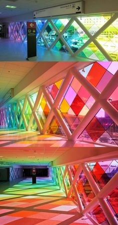 """Large-scale installation by Christopher Janney, at the Miami International Airport. Janney terms it """"an abstraction of South Florida in color and sound."""""""
