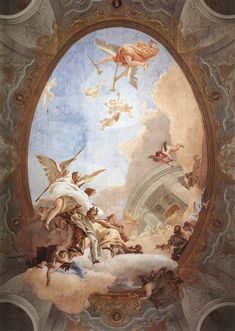 Giovanni Battista Tiepolo - Allegory of Merit Accompanied by Nobility and Virtue - - Rococo - Wikipedia Renaissance Kunst, Renaissance Paintings, Angel Aesthetic, Aesthetic Art, Inspiration Art, Art Inspo, Art Et Architecture, Angel Wallpaper, Wallpaper Desktop