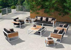 Sofa lounges from aluminum and teak with an ice bucket  7 Seaters #livingset #design #modern #outdoorliving #amman #alqairawan #jordan #style #summer #nothingbutstyle #outdoorfurinture #aluminum #teak #wood