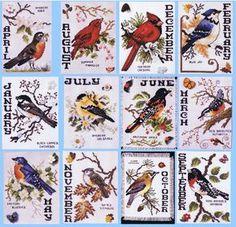 bird a month cross stitch free - Google Search