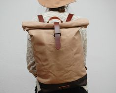 waxed Canvas Backpack, hand waxed  von NATURAL HERITAGE BAGS auf DaWanda.com