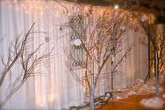 A pipe and drape wall utilizing 'Christmas' lights to create an ethereal glow! Courtesy of customer LK Events.