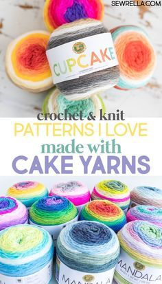 Crochet Patterns Ideas The options might as well be endless when it comes to cake yarns made by Lion Brand. They have three different collections of color schemes, and they are all so gorgeous! So here are some pattern ideas for the cake yarn frenzy! Caron Cake Crochet Patterns, Caron Cakes Crochet, Crochet Cake, Crochet Shawl, Crochet Crafts, Knit Crochet, Knitting Patterns, Crochet Birds, Crochet Food