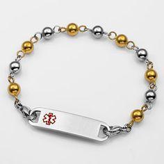 Stainless/Gold 6mm Womens Medical Beaded Bracelet  $27.90 http://paradiseinternetmall.net/JEWELRY_2.html