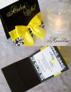 Classy yellow and black wedding Invitation By: Enchanted Moments - Invitations & Cards yup these are the invitations i want! Wedding Theme Inspiration, Cute Wedding Ideas, Yellow Wedding Invitations, Wedding Stationary, Wedding Cards, Our Wedding, Dream Wedding, Invitation Cards, Invites