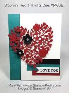Sweet valentine card using Bloomin' Heart Thinlits Dies designed by Mary Fish, Independent Stampin' Up! Demonstrator.  Details, supply list and more card ideas on http://stampinpretty.com/2016/02/saying-love-you-with-a-bloomin-heart.html