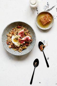 Gluten Free Spiced Granola | Dan Churchill - quinoa, mixed nuts, coconut, tahini, honey, all spice