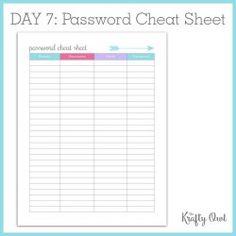 Stupendous image with regard to password cheat sheet printable