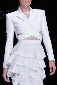 Cropped jacket & pretty frill skirt; all white fashion details // Balmain Spring 2016