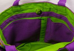 Tutorial for making  side-by-side zippered and open pockets in a bag