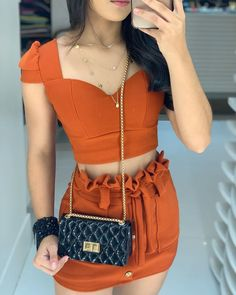 Crop Top Outfits, Edgy Outfits, Swag Outfits, Short Outfits, Summer Outfits, Girl Outfits, Crop Top And High Waisted Shorts, Bollywood Fashion, Fashion Dresses