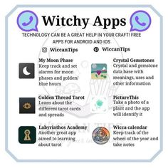 "I use ""My Moon Phase,"" ""Crystal Gemstones,"" ""Golden Thread Tarot,"" ""Labrynthos Academy,"" and ""Wicca Calender."" I would use ""PictureThis"" but it costs money and a monthly subscription and your girl is broke. Witch Spell Book, Witchcraft Spell Books, Magick Spells, Green Witchcraft, Wicca Witchcraft, Healing Spells, Spells For Beginners, Witchcraft For Beginners, Wiccan Magic"