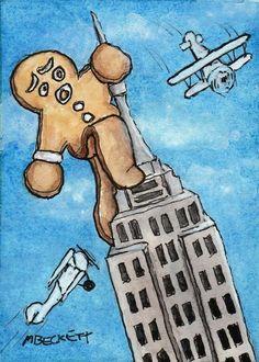 ACEO TW DEC Original Painting Gingerbread Kong cookie man king building airplane #Cartoon