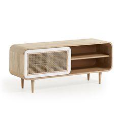 Meuble tv georg 120 x 50 cm naturel Kave Home Tv Bord, Rattan, Retro Tv Stand, Dark Green Kitchen, Wood Interior Design, Sideboard Cabinet, Home Tv, Retro Home, Home Entertainment