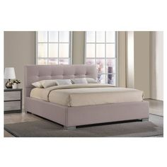 Baxton Studio Regata Modern and Contemporary Beige Fabric Upholstered... ($542) ❤ liked on Polyvore featuring home, furniture, beds, beige, king size upholstered headboard, queen tufted headboard, upholstered king bed, tufted queen bed and tufted king bed