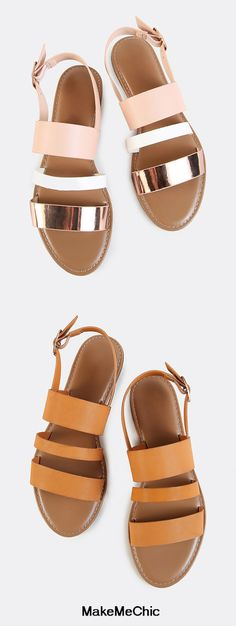Sling Back Triple Band Sandals