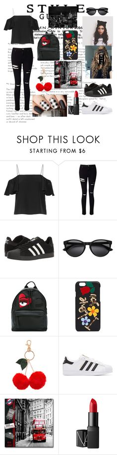 """""""Black and red"""" by guillerminacas ❤ liked on Polyvore featuring Fendi, Miss Selfridge, adidas, Chiara Ferragni, Dolce&Gabbana, Accessorize, adidas Originals and NARS Cosmetics"""