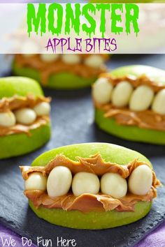 Monster Apple Bites and More Halloween Ideas.  Visit pinterest.com/arktherapeutic for more #speechtherapy pins