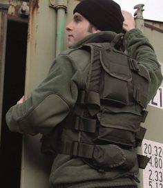 Mil-Tec Einsatzweste mit Lederbesatz, oliv / mehr Infos auf: www.Guntia-Militaria-Shop.de