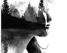 Beyond The Pines, edizione n. 2, stampare da acquerello originale illustrazione di Jessica Durrant