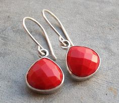 Faceted earrings  Red coral earrings  Dangle by Studio1980 on Etsy