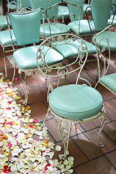 Vintage ceremony chairs with mint cushions. #wedding #decor