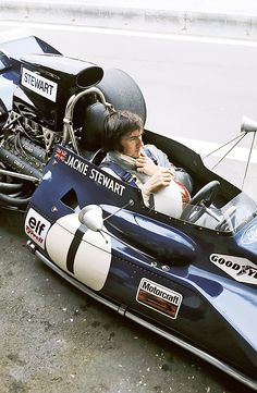Jackie Stewart before the start of a race in Monaco during his racing days.