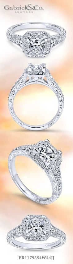 Gabriel & Co. - Voted #1 Most Preferred Fine Jewelry and Bridal Brand.  Meet Estelle -  Glamorous diamond filled channels come together to meet the spectacular Princess Cut Halo Engagement Ring.