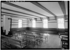 Meetinghouse -- Sabbathday Lake Shaker Community Meetinghouse, Cumberland County, ME,  June 1962. A Stove Less Ordinary: Shaker Stoves in the Historic American Buildings Survey Archive (upd. 24 June 2014)