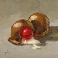CHOCOLATE COVERED CHERRIES, painting by artist Tom Brown