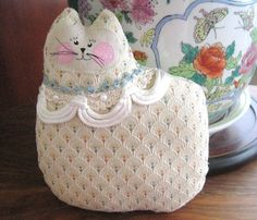 Cat Pillow Doll Cloth Doll 7 inch CHAMPAGNE by CharlotteStyle, $12.00