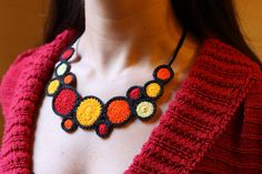 Red crochet necklace: handmade crochet necklace by allfreecolors