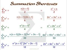 Summation Shortcuts, Often Used with Riemann Sums Algebra Formulas, Physics Formulas, Math Notes, Class Notes, Class 12 Maths, Math Sheets, Maths Solutions, Precalculus, Math About Me