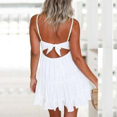 b1fcedf1c385 Wintialy Women Summer Backless Mini Dress White Evening Party Beach Dresses  Sundress     To view further for this item