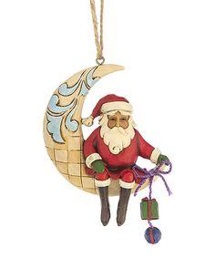 Red Santa on Crescent Moon Ornament #zulily #zulilyfinds