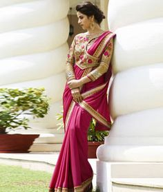 Buy Pink Silk Party Wear Saree 77432 with blouse online at lowest price from vast collection of sarees at Indianclothstore.com.